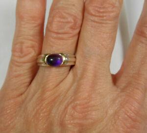 Tiffany & Co Amethyst Cabochon 18K Gold Sterling Silver Band Ring