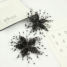 A Pair Beaded Black Beads Star Snowflake Fashion Black Shoe Clips