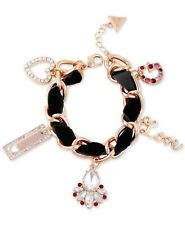 Guess Women's Gold-Tone Crystal & Woven Faux Suede Charm Bracelet NEW with tag