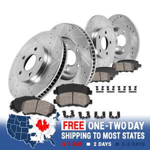Front+Rear Drill Slot Brake Rotors Ceramic Pads For 2013 2014 - 2016 Dodge Dart