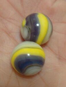 2 Vintage Marbles Akro Agate Lavender Popeye Corkscrews 630 & 620 Nice Examples