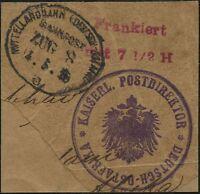 198/DOA 1916 Mittellandbahn Bahnpost Zug 8 a Briefstück Vorausfrankierung