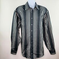 Bugatchi Uomo Mens Dress Shirt Sz 2XL Black Khaki Tan Stripe Contrast Flip Cuffs