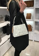MICHAEL KORS PORTIA PERFORATED SAFFIANO LEATHER SMALL SATCHEL BAG OPTIC WHITE
