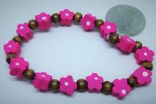 Girls Bangle,Bracelet Costume Jewellery,Pink Flowers&Wooden Beads,FAST FREE P&P