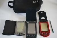 Palm Pilots-Working. No Power Cords/Stands. Red is Battery Powered + Bag