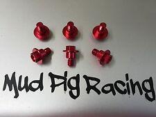 HONDA CRF 250 450 CR 125 XR 400 ALLOY FORK GUARD / SHROUD BOLT SET IN RED