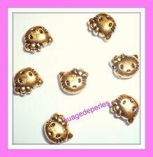 perles HELLO KITTY lot de 7 perles bracelet collier doré