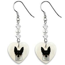 Fox Terrier 925 Sterling Silver Heart Mother Of Pearl Dangle Earriongs Ep119