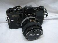 Canon FTb QL 35mm SLR Camera Body Black w/FD 50mm 1.4 Fast Lens Meters