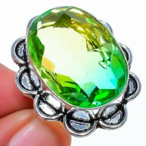 Bi-Color Tourmaline 925 Sterling Silver Jewelry Ring s.7 F2531
