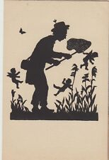 SILHOUETTE FANTASY Man with Net Catching FAIRIES Flowers NATURE Butterfly c1920s