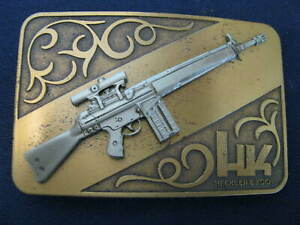 Rare Heckler and Koch Brass HK 91 belt buckle with Rifle - LOOK!
