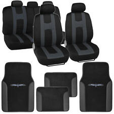 Complete Set Car Seat Covers and 2 Tone Vinyl Mats Black / Charcoal Dark Grey