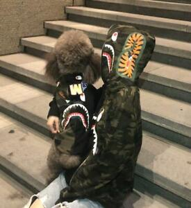 2020 Bape Green& Black Camo Shark WGM Dog Pet Hoodie Swearshirt Jacket Coat