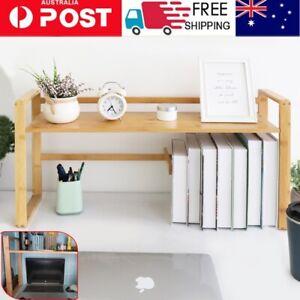 High Legs Large Bamboo Desktop Shelf Tabletop Storage Bookshelf Organizer Helper