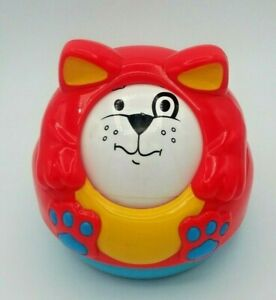 Vintage  Infant Baby Toy Rattle Dog Shelcore Plastic Roller Ball Changing Faces