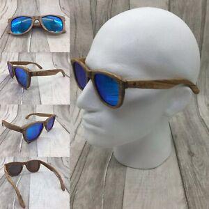 Men's Handcrafted Zebra Wood Frame Blue Mirror Polarized Sunglasses 100% UV. 400