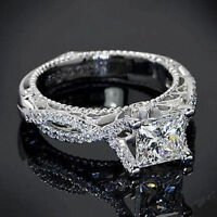 Certified 2.45Ct White Princess Cut Wedding Engagement Ring in 14Kt White Gold.