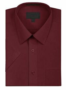 Men's Solid Color Regular Fit Button Up Premium Short Sleeve Dress Shirt