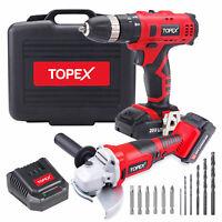 "TOPEX 20V Max Lithium Cordless Hammer Drill & 5"" Angle Grinder Combo Kit"
