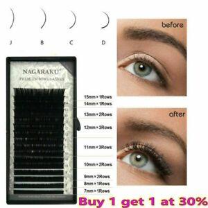 NAGARAKU 16 lines 7~15mm Individual Eyelash Extension Semi Permanent Mink Lashes