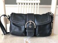 COACH Hampton Soho Black Leather Medium Handbag Hobo Shoulder Bag EUC 3653
