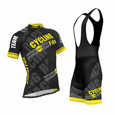 FDX Mens Pro Cycling Jersey Half Sleeve Bike Team Racing Top + Bib shorts set