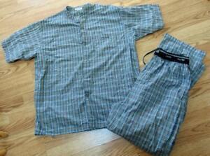 Calvin Klein Mens 2-pc  Cotton Pajamas Set Gray Blue Plaid sz XL Nice