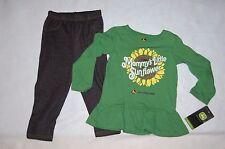 Toddler Girls L/S Outfit JOHN DEERE GREEN Ruffles MOMMYS SUNFLOWER Knit Pants 2T
