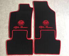 Autoteppich Fußmatten für Alfa Romeo 147 schwarz rot Logo und Schrift Neuware