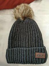 GZDOT gray Beanie Hat With Furry Pom Pom