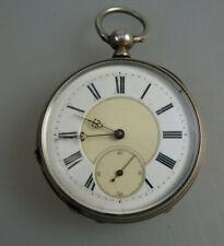 Schöne offene Herrentaschenuhr Schlüsselaufzug Silber um 1890 (60297)