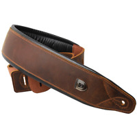 Leather Cowhide Padded Guitar Strap for Electric Bass Acoustic Adjustable Belt