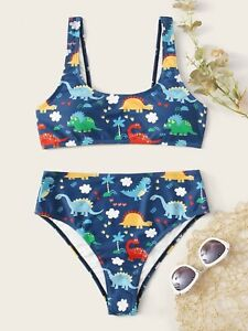 ADULT Cartoon Dinosaur High Waisted Bikini 2pc Swimsuit Blue Dino Small S NEW