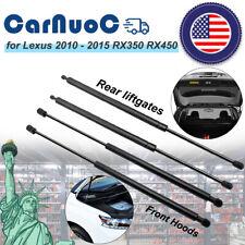 2 x Front Bonnet Gas Struts 2 x Rear Lift Supports For Lexus RX350 2010-2015 USA