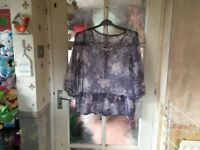 Indigo Ladies Tunic Size 16, Beautiful Design, Lovely Condition.