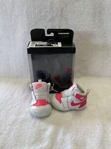 Nike Air Jordan 1 Crib Bootie Infant Girls Racer Pink/white Crib Shoes~size 1 C