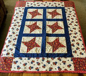 "goPatchwork red, white, blue Star lap Quilt or Crib Quilt 33"" X 42"""