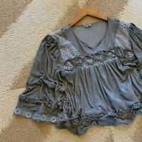 L Boho Lace Romantic Peasant Blouse Vtg 70s Ins Gray Top Womens Size LARGE NWT