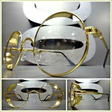 Mens VINTAGE RETRO Style Clear Lens EYE GLASSES Round Gold Blinder Fashion Frame