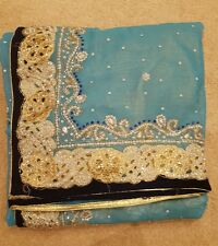 Indiano Designer Matrimonio/Party Blu/Crema Mezza & Mezza Saree