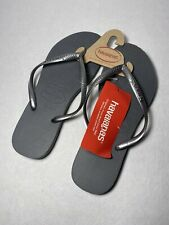 Havaianas Womens steel Gray Thong Flats Flip-Flops Sandals 9/10W NWT