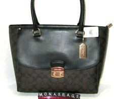 Coach Avary F48630 Large Brown Signature Black Leather Tote Satchel Handbag NWT