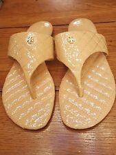 Tory Burch  Leather Thong Sandal Creme De Leche Sz 6.5 NWOB