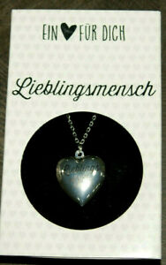 Depesche Halskette versilbert Herz Medallion mit Aufschrift Herz aufklappbar