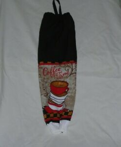 Coffee Time Design Homemade Towel & Black Fabric Plastic Grocery Bag Holder