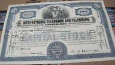 New listing I T & T Corp. Old Canceled Stock Certificate 1951 Blue/small