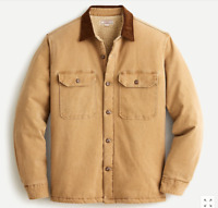 NWT J.Crew Wallace & Barnes Men's S Brown Sherpa-Lined Duck Canvas Shirt Jacket