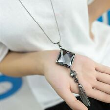 Fashion Women Square Big Crystal Drop Pendant Necklace Long Tassel Sweater Chain